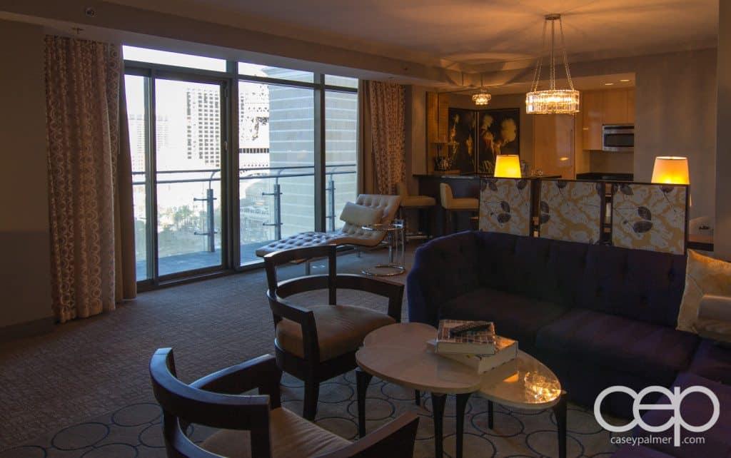 The cosmopolitan wraparound terrace suite den for Terrace suite cosmopolitan